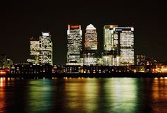 London, Canary Wharf at night Stock Photos