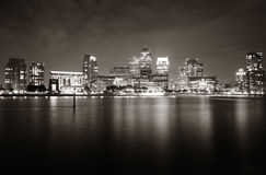 London Canary Wharf at night. Canary Wharf business district in London at night over Thames River Royalty Free Stock Image