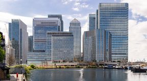 London Canary Wharf. Skylines building at Canary Wharf in London UK royalty free stock photos