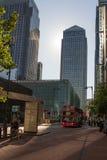London Canary Wharf skyskrapa Royaltyfria Bilder