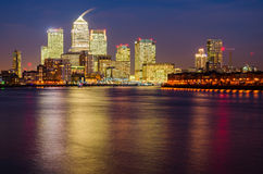 London Canary Wharf and Thames. At night Stock Photo