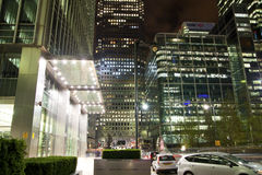 LONDON, CANARY WHARF UK - APRIL 4, 2014 Canary Wharf square view in night lights Stock Image