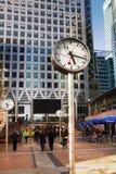 LONDON, CANARY WHARF UK - APRIL 13, 2014. Clocks on the main square Royalty Free Stock Photo