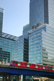 LONDON, CANARY WHARF UK - APRIL 13, 2014 - DLR bridge and train Stock Photo