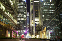 LONDON, CANARY WHARF UK - APRIL 13, 2014 - Modern glass architecture of Canary Wharf business aria, Stock Photo