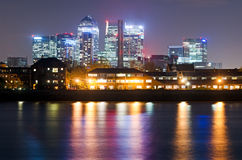London, Canary Wharf view from Greenwich Stock Image