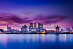 London. Capital of England Docklands Canary Wharf view Thames River Stock Photo