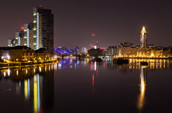 London. Capital of England by night view from the Batersea Bridge  Thames river view Chelsea night photography Royalty Free Stock Photography