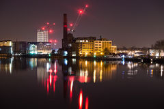 London. Capital of England  view from the Batersea Bridge  Thames river  Chelsea night photography Stock Photo
