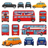 London car vector british cab taxi and uk red bus for transporting in england illustration set of tourism transportation. In united kingdom vehicle or english stock illustration