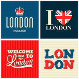 London Cards Collection. A set of typographic design London greeting cards Royalty Free Stock Photography