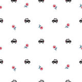 London cartoon cab cars and flowers seamless pattern. Stock Photography