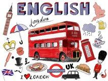 Free London Cartoon Set Royalty Free Stock Photography - 161340887