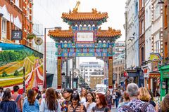 London Chinatown features Chinese restaurants, bakeries and souvenir shops. London, UK - July 22, 2017 - London Chinatown features Chinese restaurants, bakeries stock photography