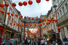 London Chinatown. London - September 13: view of Chinatown in London, UK on September 13, 2014. The area in and around Gerrard Street in London contains many Royalty Free Stock Images