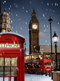 London at Christmas. London Scene with snow falling Stock Images