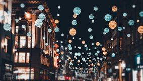 London Christmas Lights. London festive Christmas street lights and decorations stock images