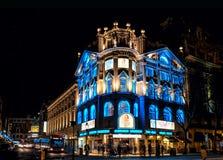 London Christmas lights at Novello Theatre. London, United Kingdom - December 22, 2016: London Cristmas lights decoration at Novello Theatre as seen on 22th of royalty free stock photography