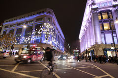London Christmas street lights stock images