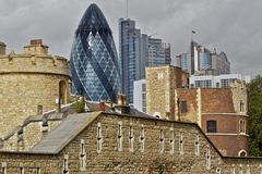 London City. View from Tower towards financial district in London City Royalty Free Stock Photo