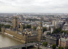 London City. Panoramic view of Big Ben and the Houses of Parliament (London, England Stock Image