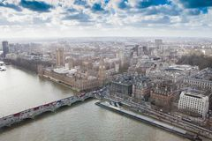 London City. Aerial view with Big Ben. And Thames river royalty free stock image