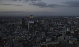 London city aerial view over skyline with dramatic sky and landm Royalty Free Stock Photography