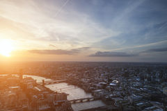 London city aerial view over skyline with dramatic sky and landm Stock Photography