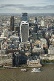 London city aerial view over skyline with dramatic sky and landm Stock Photos