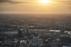 London city aerial view over skyline with dramatic sky and landm Royalty Free Stock Images