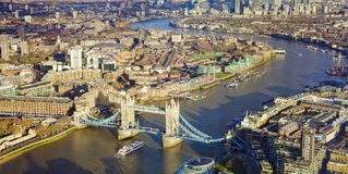 London city, aerial view with Tower Bridge. And Thames river stock photo