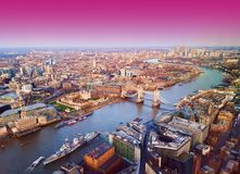 London city, aerial view, United Kingdom. London city, aerial view with abstract pink sky, sunset concept royalty free stock image