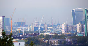 London city of building cranes from Greenwich hill Royalty Free Stock Photography