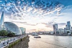 London. City buildings along river Thames Royalty Free Stock Photo