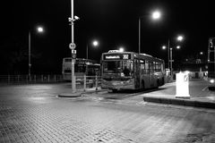 London city bus. A London city bus on station at night Royalty Free Stock Photography