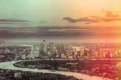 London City business district Canary Wharf from above Royalty Free Stock Photography
