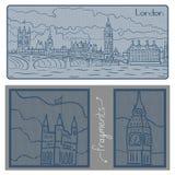 London city. Cartoon style illustration of London City in blue colors Stock Photos