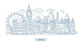 London City Cityscape. London City Skyline with Landmarks. Hand Drawn Illustration vector illustration