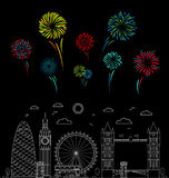 London City and Color Celebration Fireworks. Vector Royalty Free Stock Photo