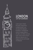 London the city of contrasts. Booklet with Big Ben tower paint and text Stock Photos