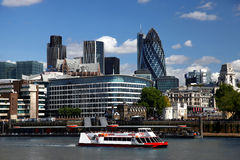 London with city cruise. Modern London with city cruise, England Stock Photo