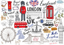 London city doodles elements collection. Hand drawn set with, tower bridge, crown, big ben, royal guard, red bus and black cab, UK. Map and flag, tea pot Stock Photography