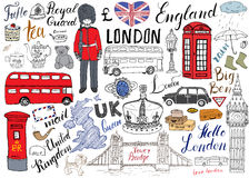 London city doodles elements collection. Hand drawn set with, tower bridge, crown, big ben, royal guard, red bus and cab, UK map a. Nd flag, tea pot, lettering Stock Image