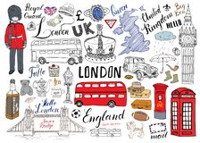 London city doodles elements collection. Hand drawn set with, tower bridge, crown, big ben, royal guard, red bus and cab, UK map a. Nd flag, tea pot, lettering vector illustration