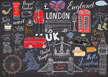 London city doodles elements collection. Royalty Free Stock Images