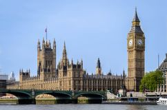 London city / England: Big Ben and Parliament building looking across river Thames stock photography