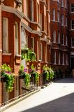 London city / England: Red brick buildings in Westminster street stock photography