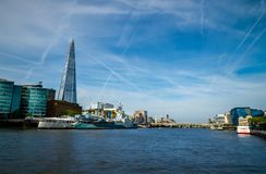 London city / England: View on skyline and river Thames royalty free stock image