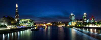 London city / England: View on skyline and river Thames during twilight from Tower Bridge stock image