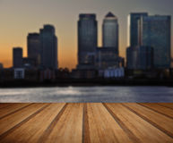 London City general skyline at night with wooden planks floor Royalty Free Stock Photography